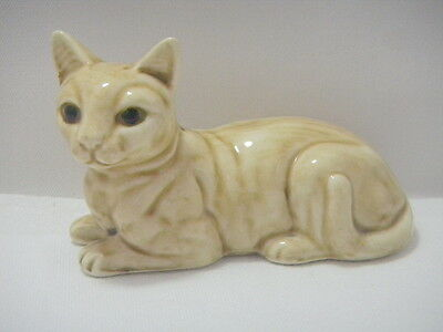 Vintage Tan SPHYNX Type  Pottery Hairless CAT Figurine Lying Down