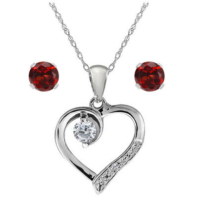 Genuine White Diamond 925 Sterling Silver Heart Shape Necklace with Gift