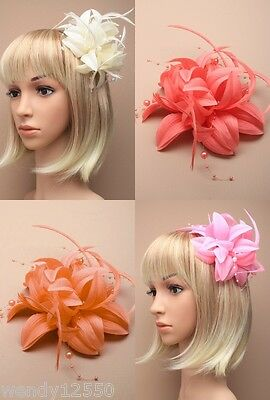 Pack Of 4 Flower, Feather & Bead Fascinators : Forked Clip/brooch : Sp-5625 Pk4