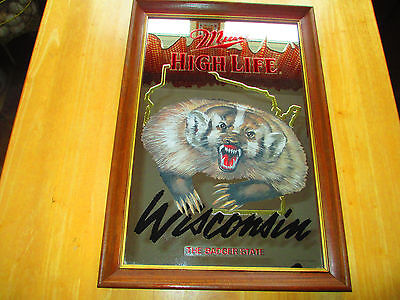 MILLER HIGH LIFE BADGER WISCONSIN WILDLIFE MIRROR