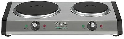 Waring DB60 Portable Brushed stainless Steel Double Burner Cast-iron Plates