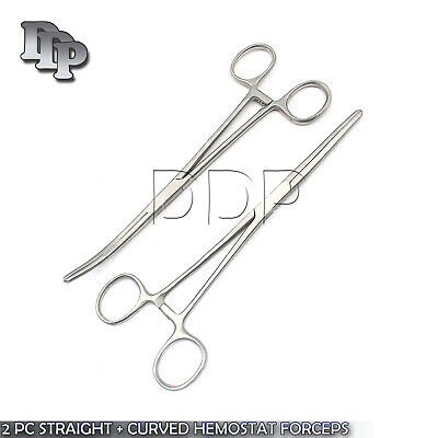 "New 2pc Set 14"" Straight + Curved Hemostat Forceps Locking Clamps Stainless"