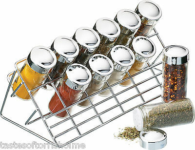 Kitchen Craft Large Set Of 12 Glass Herb & Spice Jars & Chrome Rack Stand