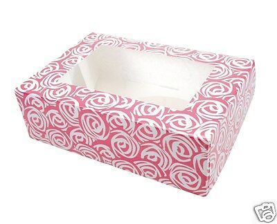 Pink Roses Cupcake Muffin Box Holds 6 Cakes Matching Cupcake Cases Available