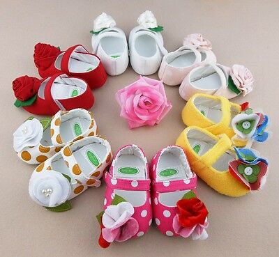 Colorful Soft Cotton Blend Sole Baby Girls Toddler Infant PreWalker Shoe Booties