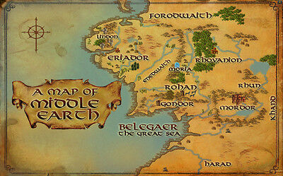MAP OF MIDDLE Earth Lord Of The Ring Fabric Art Cloth Poster ...
