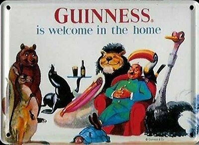 Guinness Welcome In The Home (Animals) miniature metal sign/postcard (hi)