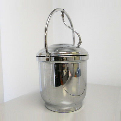 Retro Vintage Ice Bucket Chrome On Solid Brass Hinged Lid Pyrex Glass Insert