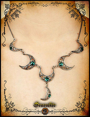 Medieval Celtic moon necklace jewelry -Handmade medieval necklace with swarovski