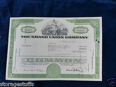 stock certificate for The Grand Union Company Dec.13 1973 12 shares at $5 PS..