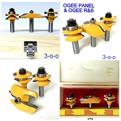 3pc Ogee Raised Panel & Ogee Rail and Stile Router Bit Set sct-888
