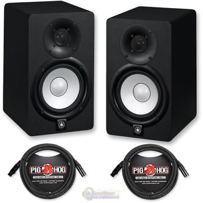 Yamaha HS5 Powered Studio Monitor Black (PAIR) w/ Pig Hog PHM20 Cables 20FT