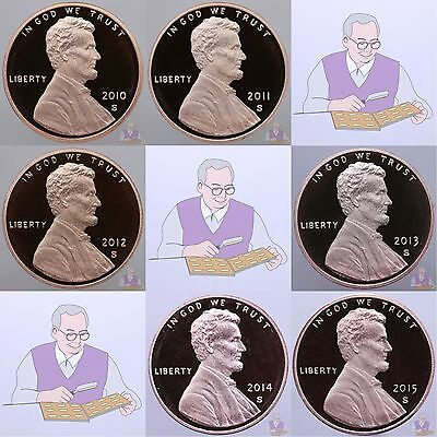 2010-2015 S Lincoln Shield Cent Gem Deep Cameo Proof 6 Coin Run US Mint