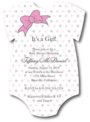 20 Baby Girl Shirt with Ribbon Bow Baby Shower Invitations