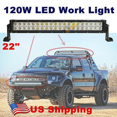 "22"" 120W Led Light Bar Flood Spot Combo Work Lights 4WD UTE Boat Offroad JEEP"