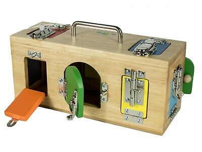 NEW Mamagenius Activity Lock Latches Wooden Play Box Educational Toy