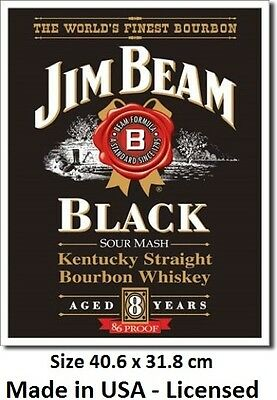 Jim Beam Black Label Tin Sign 1066  Made in USA - Licensed  - Not Chinese Fake