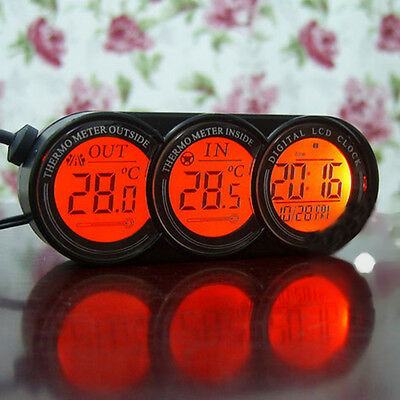 Vehicle Auto Car LCD Inside&Outside Digital Clock Temperature Thermometer Gauge