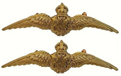 WW1 THE ROYAL FLYING CORPS COLLAR BADGES PAIR BRASS