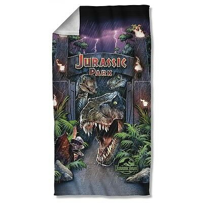 """Jurassic Park Movie Welcome To The Park Licensed Beach Towel 30"""" X 60"""""""