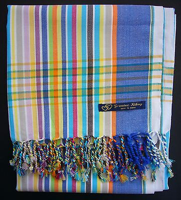 NEW Kikoy Kikoi Blue White Multi Africa Cotton Sarong Throw Scarf Kenya Swimwear