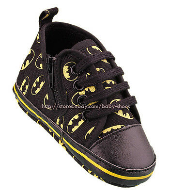 Infant Baby Boy Black Batman Soft Sole Pram Shoes Trainers Newborn to 18 Months