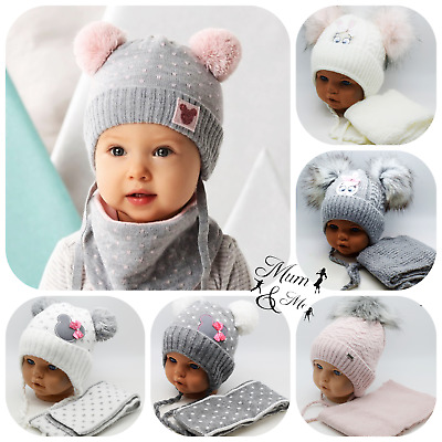 NEW Baby Girls Toddler Hat Buckle Cap With Scarf Wool Warmer Winter Headwear