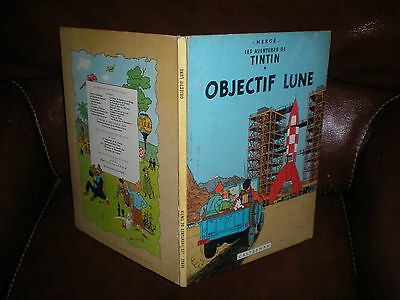 TINTIN - OBJECTIF LUNE - EDITION 1966 4e PLAT B36 DOS IMPRIME