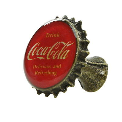 Drink Coca-Cola Red Bottle Cap Cabinet Drawer Pull Cast Iron 1.75 in