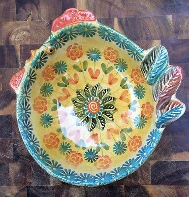 Italica ARS Hand Painted Pottery Rooster-shaped bowl