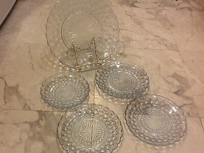 1 dinner plate , 3 Salad Plates by Anchor Hocking, Bubble, Color: Blue, 1 sauc