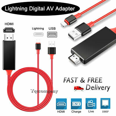 1080P Lightning To HDMI Digital AV TV Cable Adapter For iPad iPhone 6 7 8 XS Max