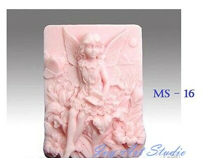 Silicone Soap Mold/Candle Mold/Mould One Cavity - Sitting Floral Fairy
