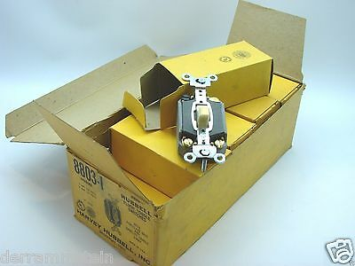 Box Of 10 Hubbell 8803-I Ivory Vintage 3-Way Toggle Switches Porcelean Base b94
