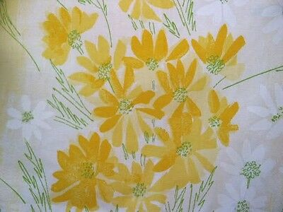 UNUSED Vtg Vera Yellow Daisy Full Flat Sheet No Iron Percale Floral Burlington