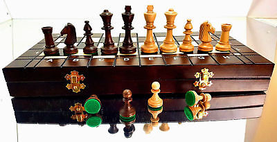 PROFESSIONAL ''TOURNAMENT No 4'' 42X42 WOODEN CHESS SET WITH WEIGHTED PIECES !!!