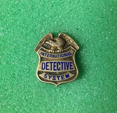 1920's Antique Police Badge International Detective System Sterling Silver,Small