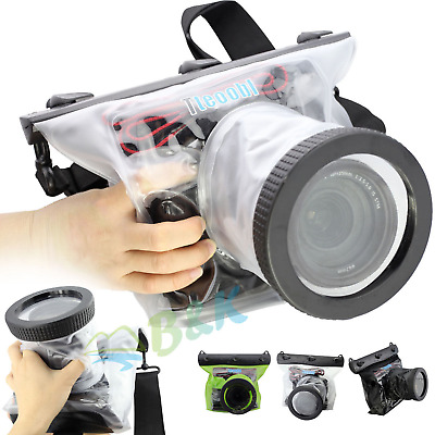 20M Underwater Waterproof Housing Case Pouch Camera Canon Nikon Lens up to 10CM