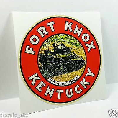FORT KNOX KENTUCKY, Vintage Style Travel Decal, Vinyl STICKER, Luggage Label