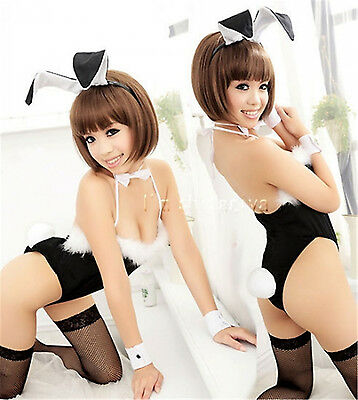 Costume Completino Completo Bunnies Bunny Nero Cosplay Sexy Pizzo Calze a Rete