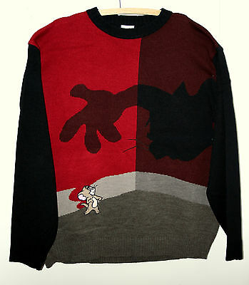 WB Tom & Jerry Cartoon Red & Black Knit Sweater XXXL NOS New 2000s