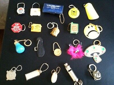 Vintage Advertising Keychains Lot 12.   Pizza Hut, State Farm, Whistle, Yellow P