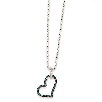 """Ladies Silver Blue and White Diamond Heart White Nights Pendant Necklace 18"""""""