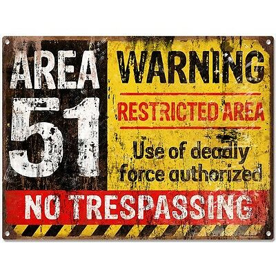 Area 51 No Trespassing Military Game Room Sign UFO Aliens Steel Sign  16 x 12
