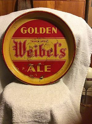 vintage 1930's rare Golden Weibels Ale beer tray