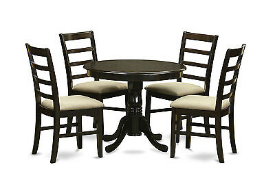 """36"""" Round Single Pedestal Dinette Table & 4 Parfait Padded Chairs In Cappuccino"""