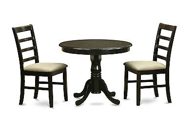 """36"""" Round Single Pedestal Dinette Table & 2 Parfait Padded Chairs In Cappuccino"""