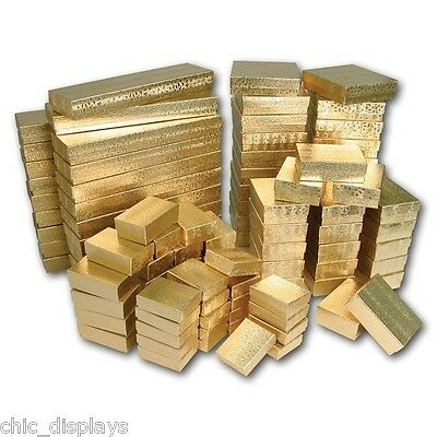 LOT OF 100 ASSORTED GIFT BOXES GOLD COTTON FILLED BOX GIFT BOX JEWELRY BOXES