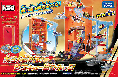 TAKARA TOMY TOMICA Disney PLANES 2 Fire & Rescue Carrier Dispatch Bag BOX Set