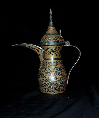 """MIDDLE EASTERN ANTIQUE BRASS COPPER  INLAID COFFEE POT TEAPOT 10.6"""""""